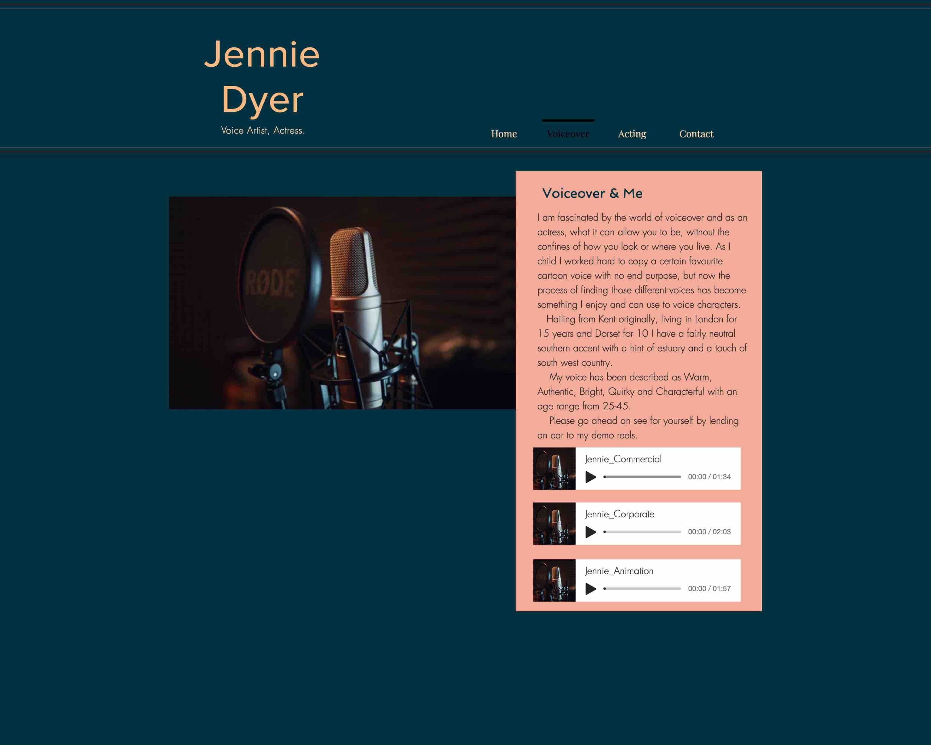 Jennies Voiceover-Unterseite