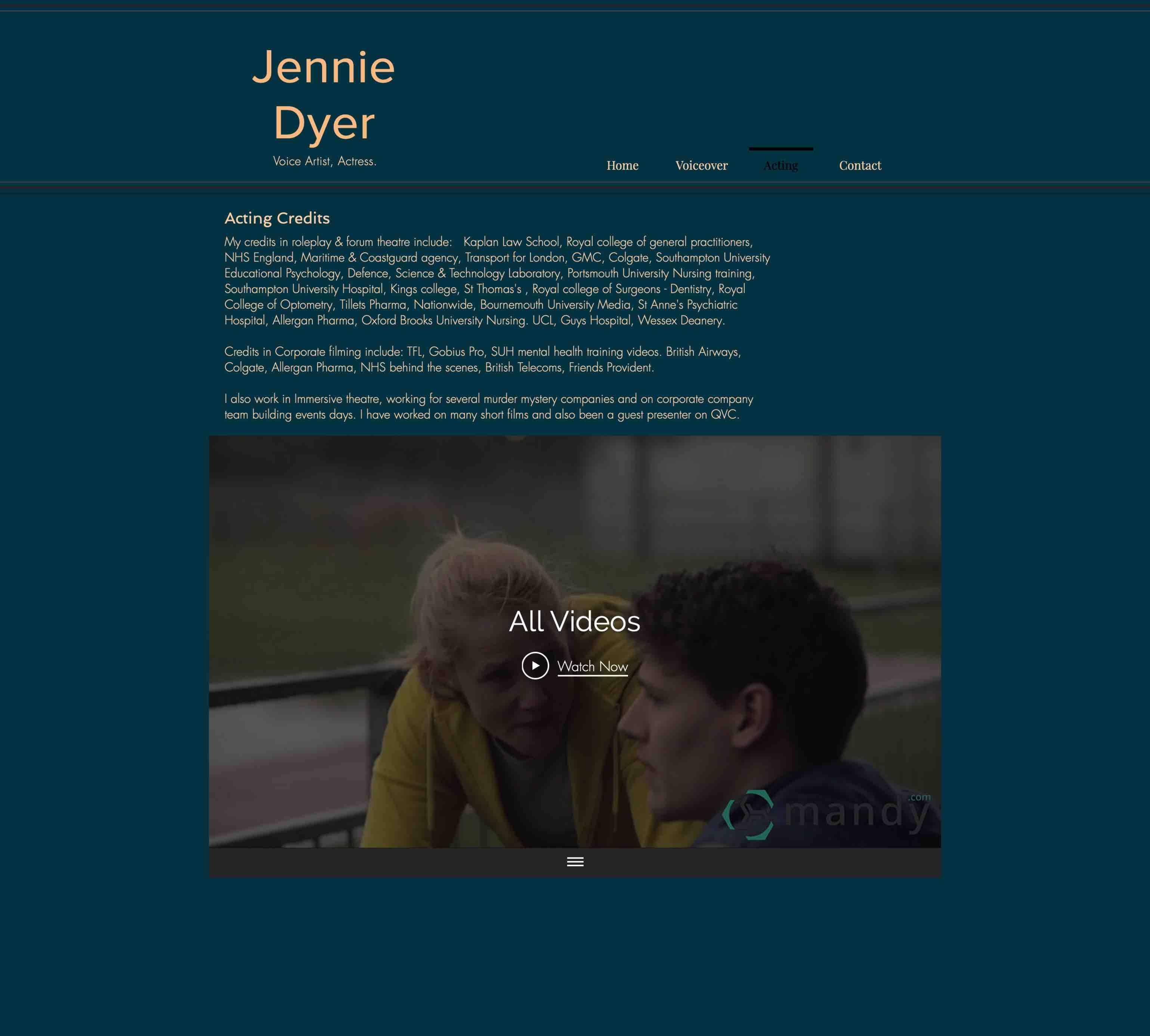 Jennies Schauspiel-Unterseite