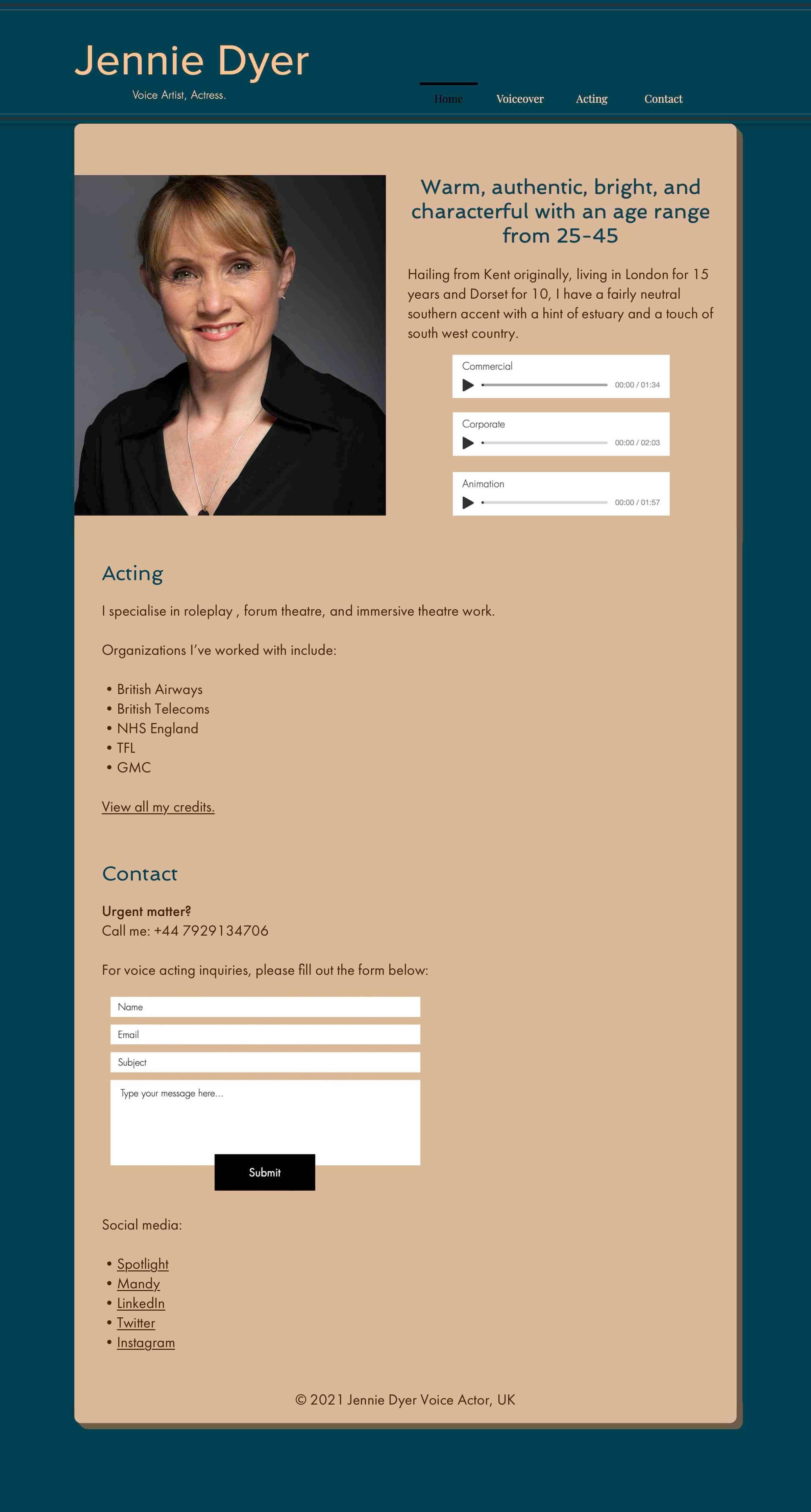 Jennies vier Unterseiten wurden zu einer komprimierten Homepage zusammengeführt