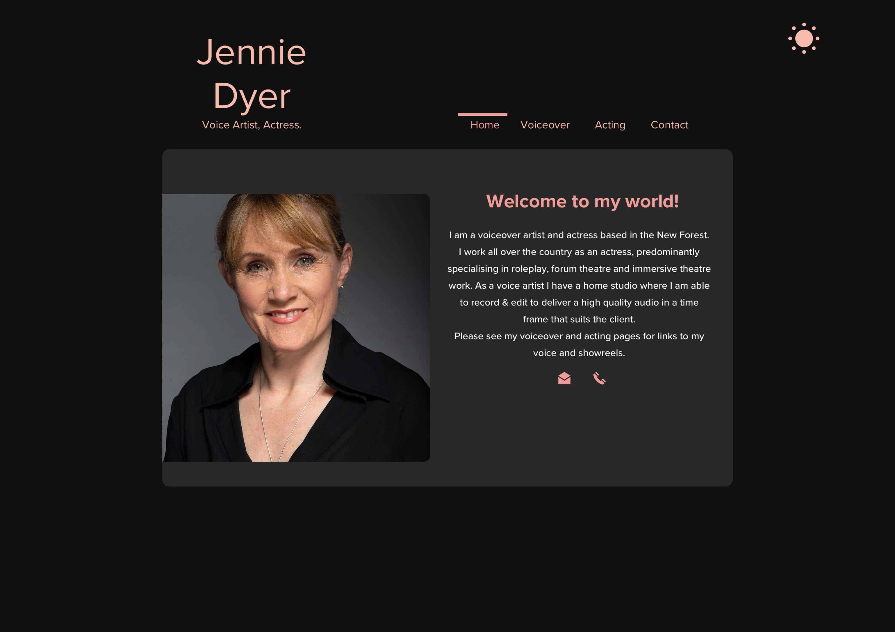 Eleganter dunkler Modus mit einem alternativen Farbschema für Jennies Website