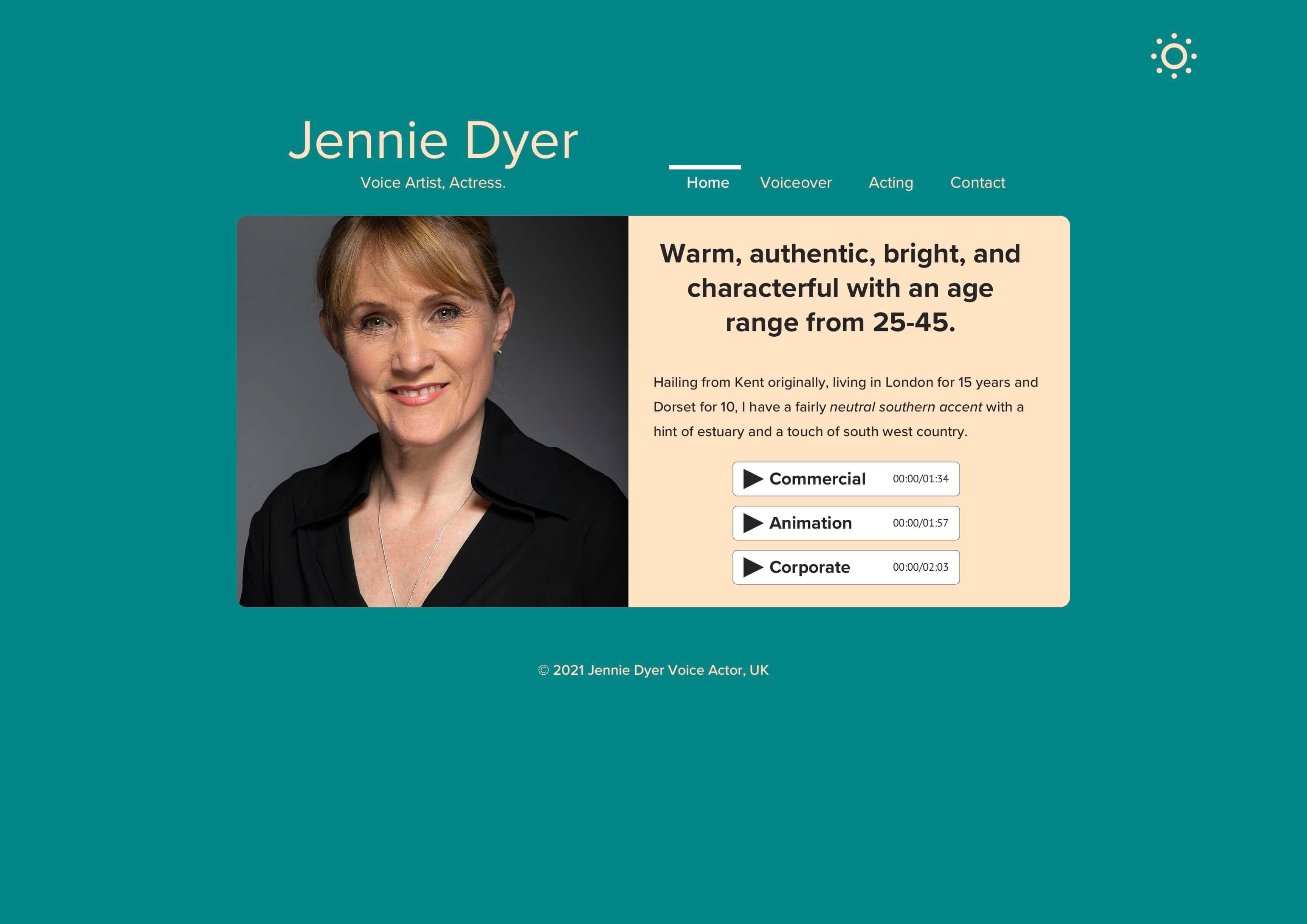 Blau ist verschwunden, Grün ist jetzt die dominierende Hintergrundfarbe für Jennies Tageslicht-Homepage-Design (inspiriert vom Grün in ihren Augen)